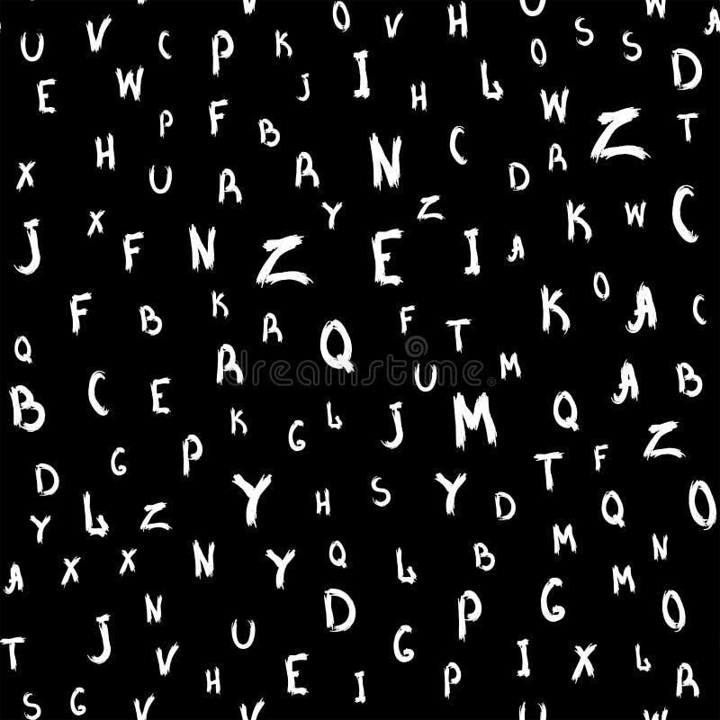 Naadloos die patroon met brieven met de hand met een ruwe borstel worden geschreven Schets, watercolour, verf, inkt Vector illust vector illustratie
