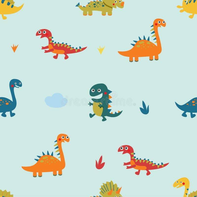 Naadloos die patroon met dinosaurus op lichtgroene achtergrond, vector wordt geplaatst stock illustratie