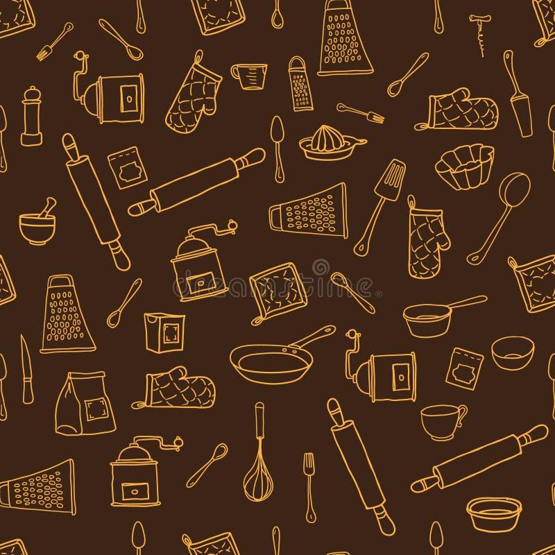 Naadloos die patroon met hand cookware op wordt getrokken royalty-vrije illustratie