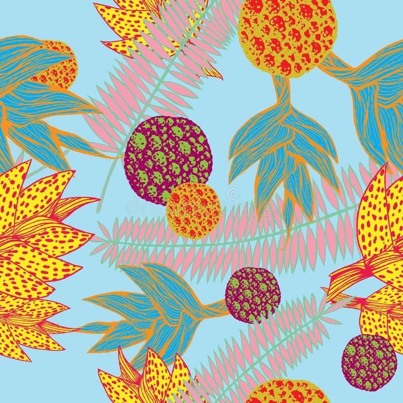 Naadloos die patroon met installaties door tropische plantkunde in levendige kleuren wordt geïnspireerd royalty-vrije illustratie