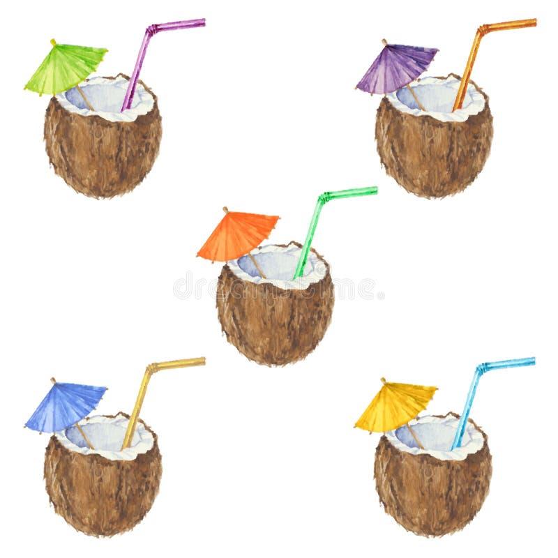 Naadloos die patroon met kokosnotencocktail, in waterverf wordt geschilderd V royalty-vrije illustratie