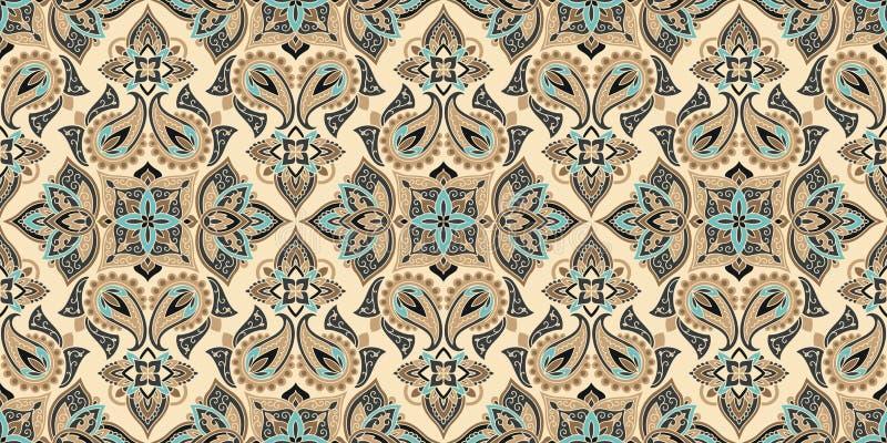 Naadloos die patroon op traditionele Aziatische elementen Paisley wordt gebaseerd Vectorachtergrond van de Boho de uitstekende st royalty-vrije illustratie