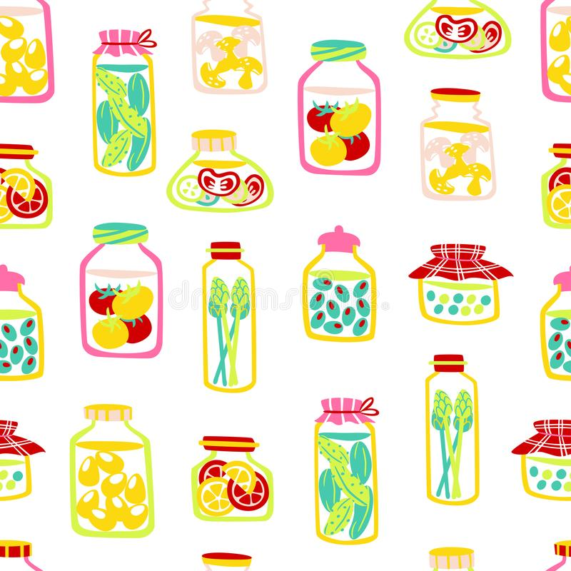 Naadloos die Patroon van Groenten in Kruiken worden ingeblikt Hand getrokken vectorillustratie stock illustratie