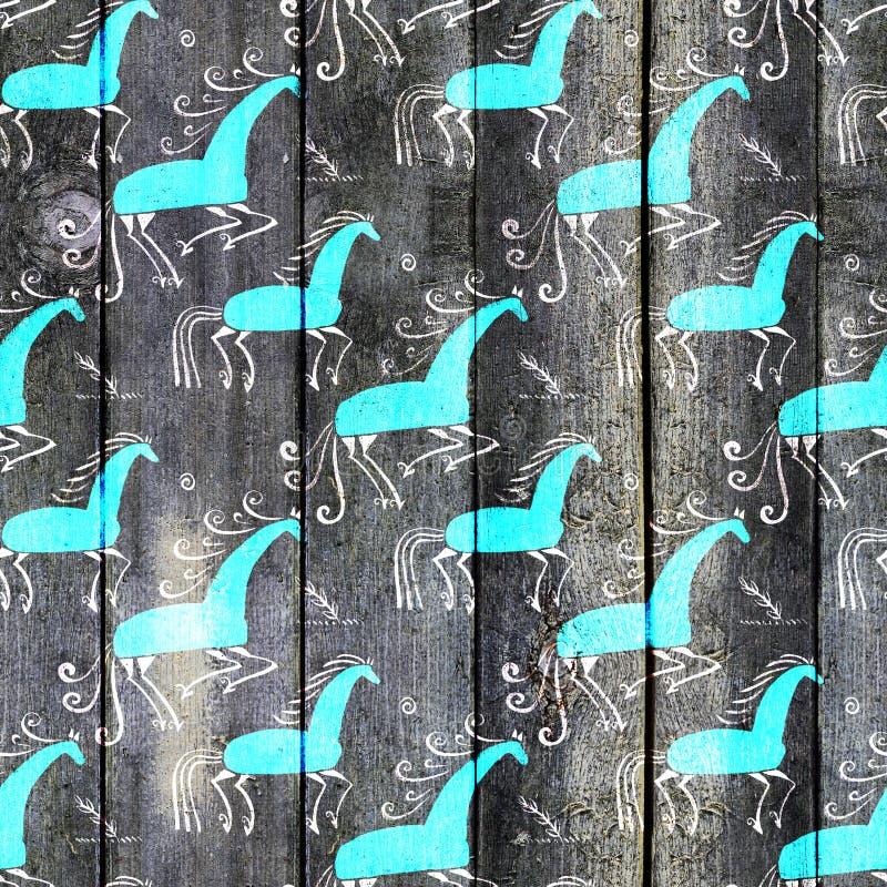 Naadloos die patroonontwerp door traditioneel borduurwerk wordt geïnspireerd Het schilderen van Mezen vector illustratie