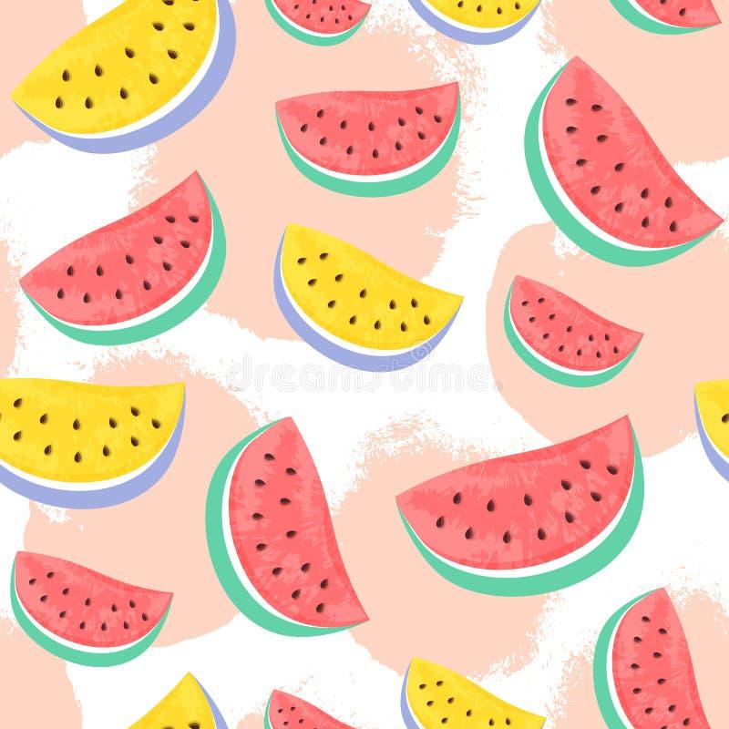 Naadloos die Watermeloenpatroon op hand getrokken borstelbackgro wordt geïsoleerd vector illustratie