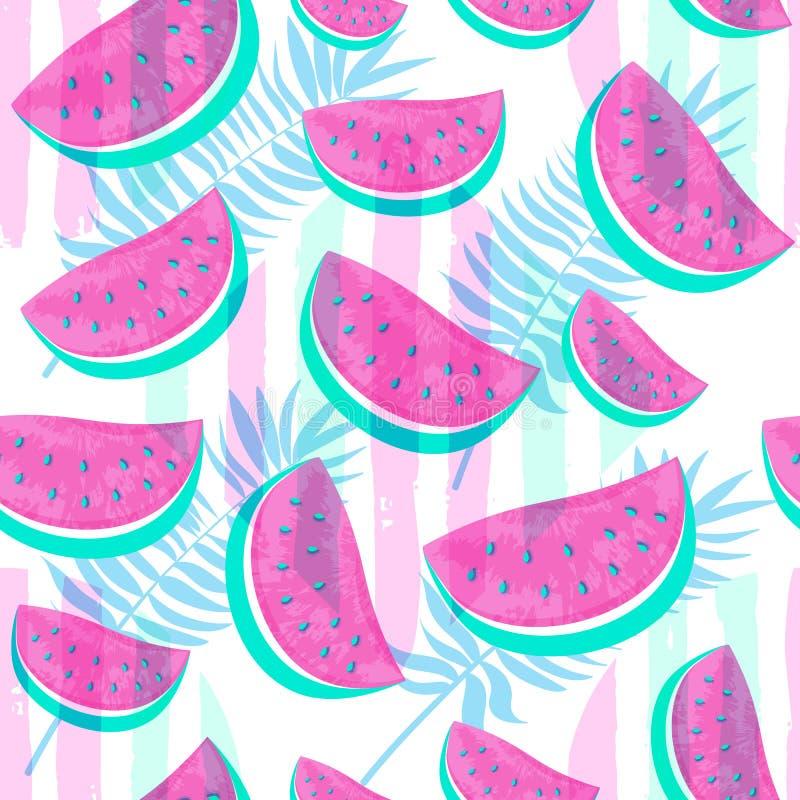 Naadloos die Watermeloenpatroon op hand getrokken borstelbackgro wordt geïsoleerd stock illustratie