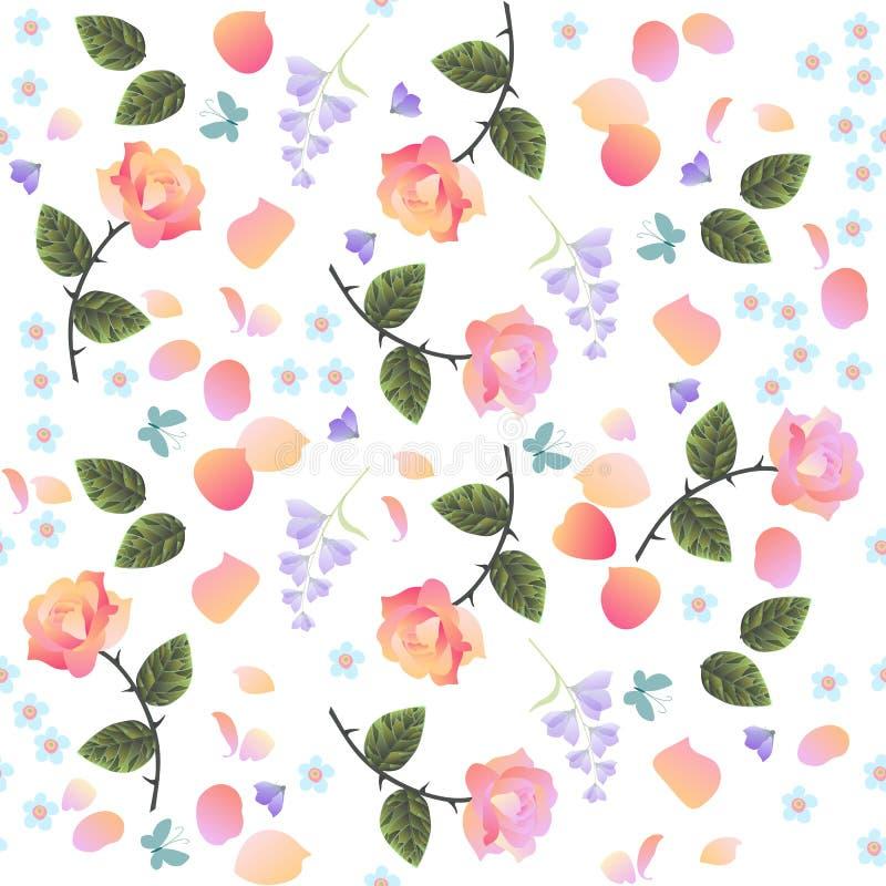 Naadloos ditsy bloemendiepatroon met roos, klokbloemen en Vergeet-mij-nietje op witte achtergrond wordt geïsoleerd royalty-vrije illustratie