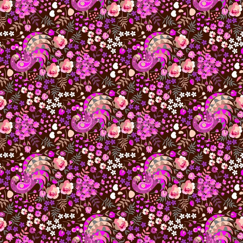 Naadloos ditsy bloemenpatroon in volks Russische stijl Fantasievogels met staarten in vorm van bos van bloemen, kleine harten, bl vector illustratie