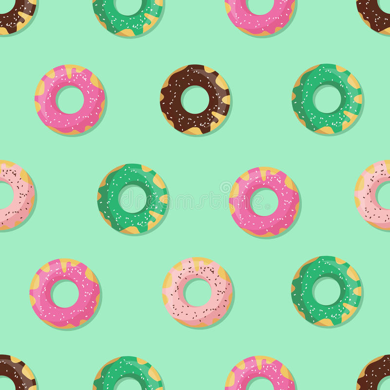 Naadloos doughnut of doughnutpatroon stock illustratie