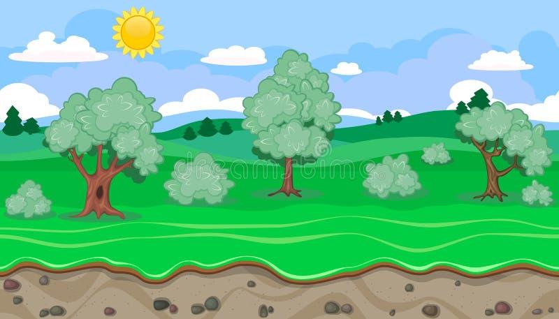 Naadloos editable groen landelijk landschap voor spelontwerp vector illustratie