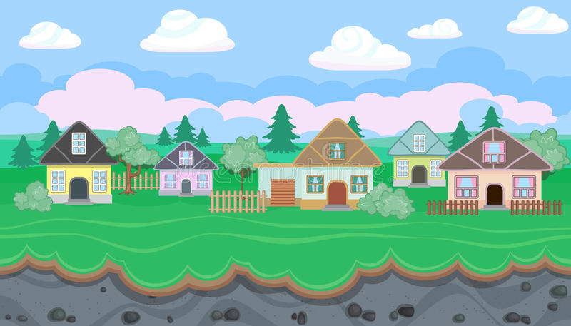 Naadloos editable landschap van dorp voor spelontwerp royalty-vrije illustratie