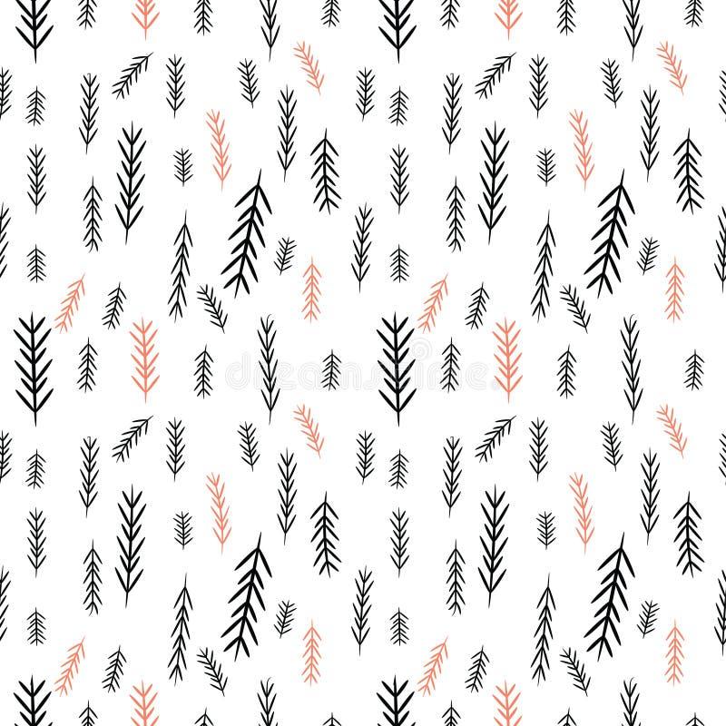 Naadloos eenvoudig vectorgrafiekpatroon De achtergrond van tegelkerstmis met pijnboom-boom Vrolijke Kerstmis! stock illustratie