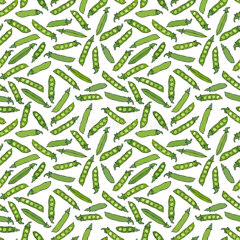 Naadloos Eindeloos Patroon van Groene Erwten en Gepeld Pea Pod Gezond Bio Vegetarisch Voedsel Realistische Hand Getrokken Hoogte royalty-vrije illustratie