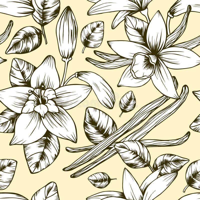Naadloos elegant vector uitstekend vanillepatroon royalty-vrije illustratie