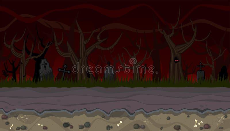 Naadloos eng landschap met bomen voor spelontwerp vector illustratie