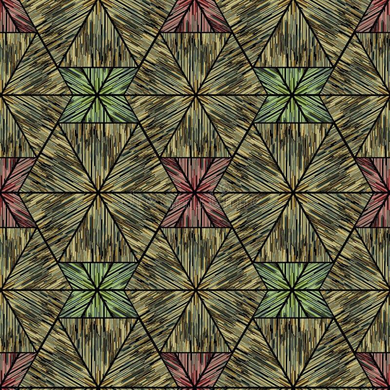 Naadloos etnisch geometrisch ikatpatroon, bruine achtergrond vector illustratie