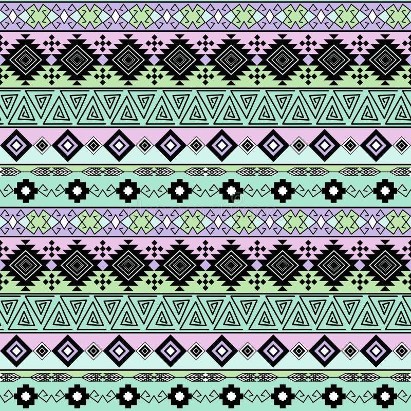 Naadloos etnisch gestreept patroon, roze, groene achtergrond stock illustratie