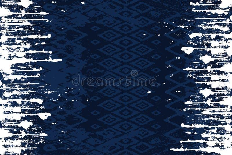 Naadloos etnisch ontwerp op donkerblauwe achtergrond met witte lijnen aan twee kanten stock illustratie