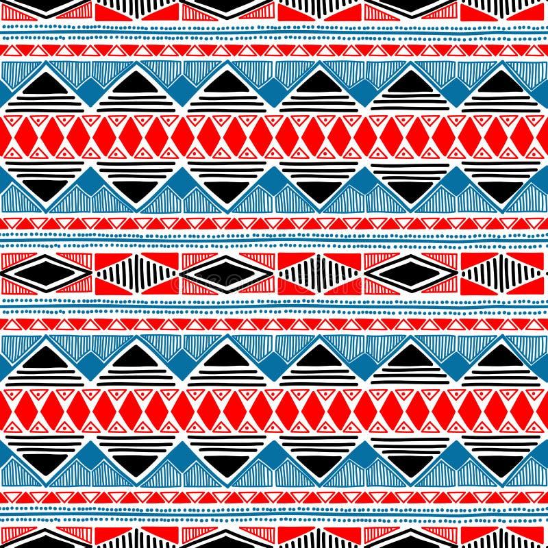 Naadloos etnisch patroon Blauwe, rode, zwart-witte kleuren vector illustratie