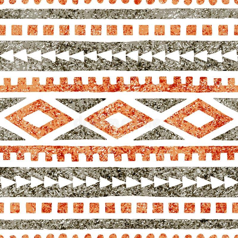 Naadloos etnisch patroon Geometrisch die ornament in potlood wordt getrokken Grijze en oranje schaduwen op een witte achtergrond  royalty-vrije illustratie