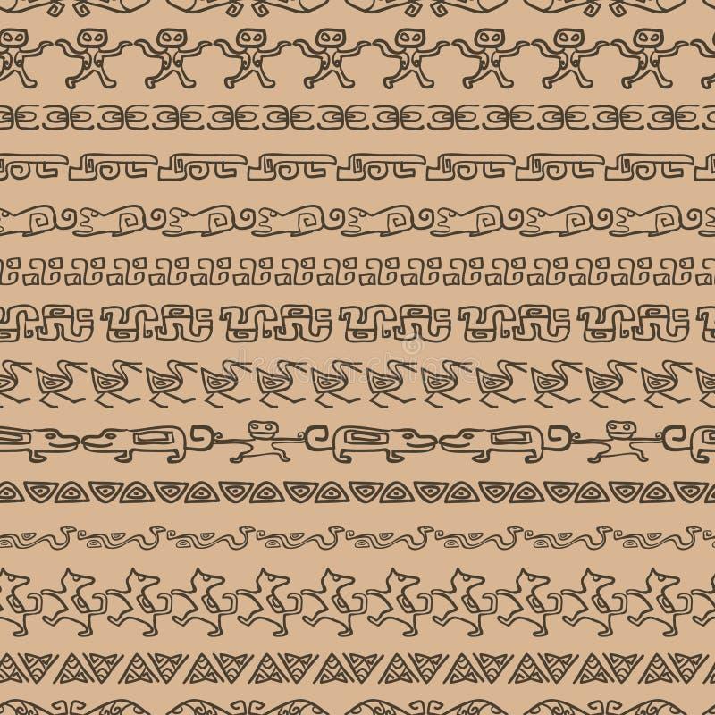 Naadloos etnisch patroon met archeologisch ornament vector illustratie