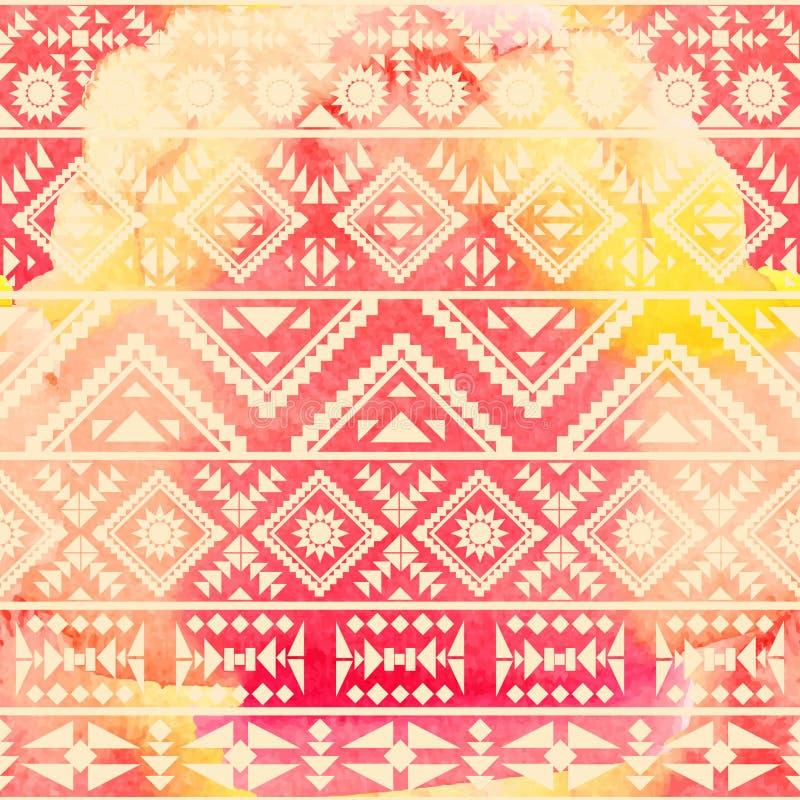 Naadloos etnisch patroon op watercolourachtergrond vector illustratie
