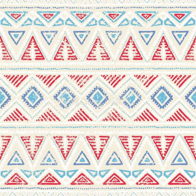 Naadloos etnisch patroon Ornament in stammenstijl Grunge textur vector illustratie