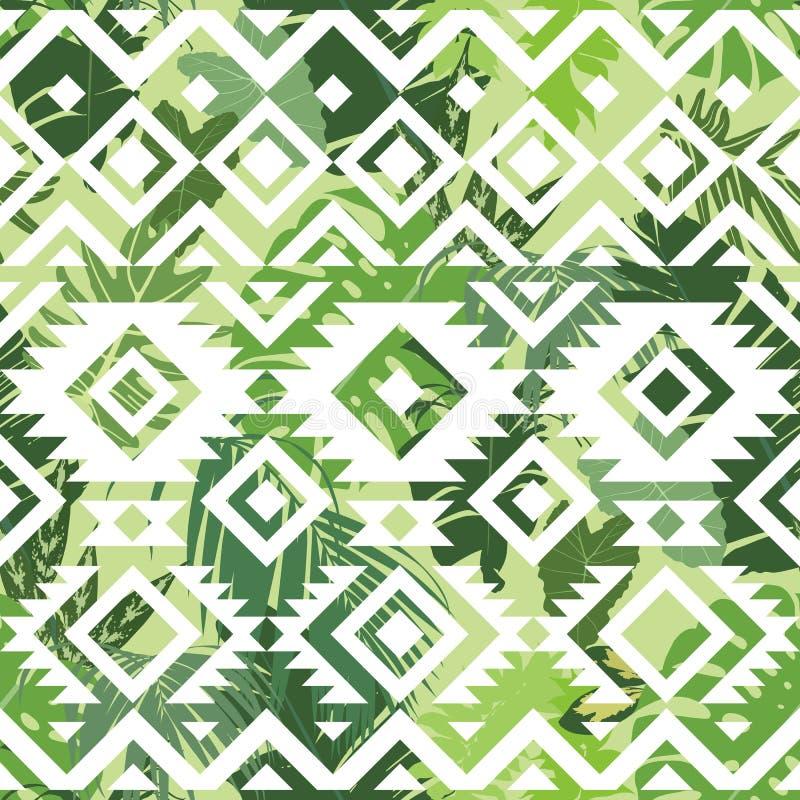 Naadloos etnisch tropisch patroon stock illustratie
