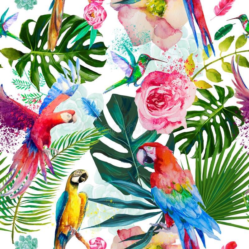 Naadloos exotisch floreel patroon met paprika's stock illustratie