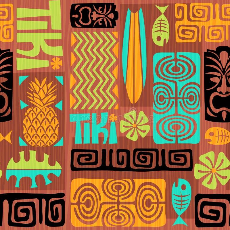 Naadloos Exotisch Tiki Pattern Vector illustratie stock illustratie