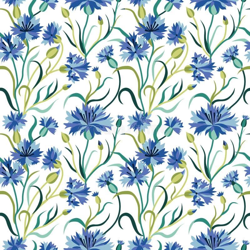 Naadloos Floral Pattern met Blue Cornflower op White vector illustratie