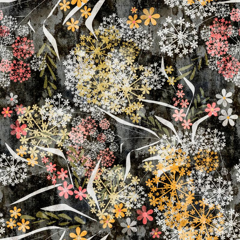 Naadloos florqal klein uitstekend retro grungepatroon van bloemenbladeren vector illustratie