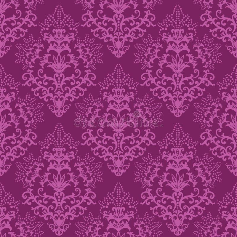 Naadloos fuchsiakleurig purper bloemenbehang stock illustratie