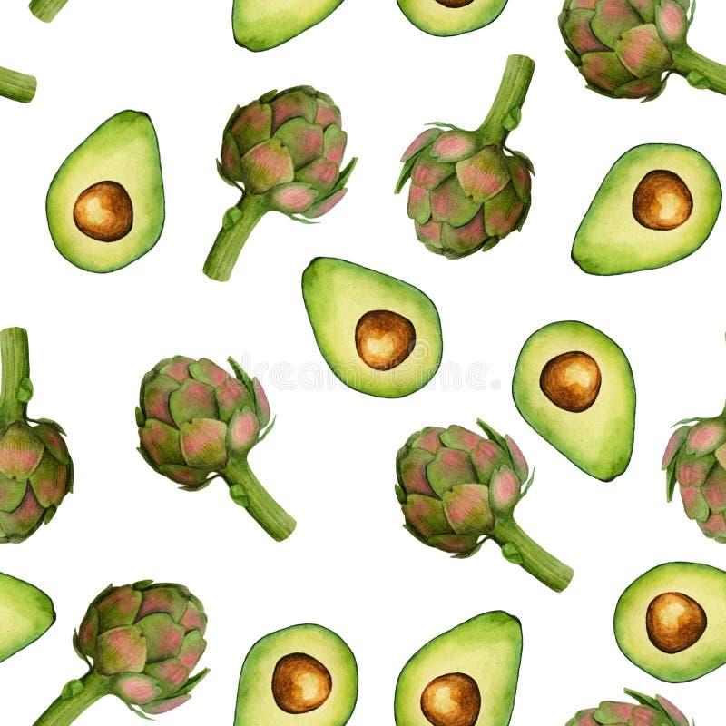 Naadloos geïsoleerd waterverfartisjok en avocadopatroon op witte achtergrond stock illustratie