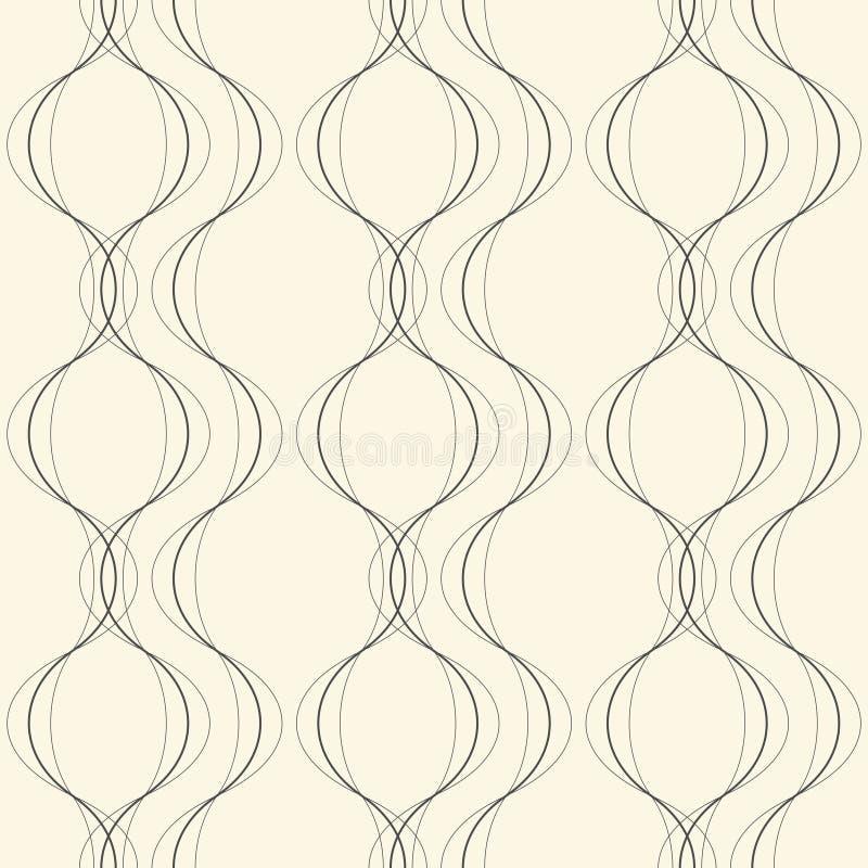 Naadloos Gebogen Vormpatroon Vector Zwart-wit Bac van de Damastgolf vector illustratie