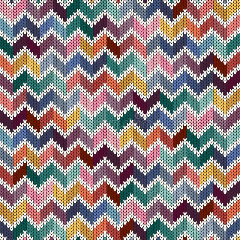 Naadloos gebreid geometrisch veelkleurig patroon vector illustratie