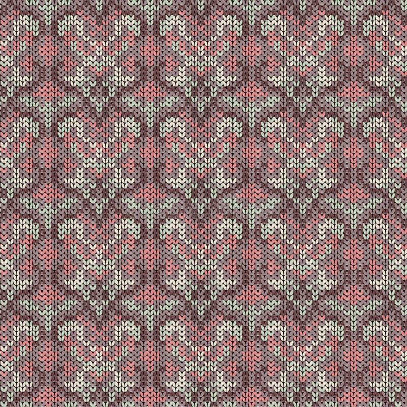Naadloos gebreid grijs, roze Skandinavisch ornament Roze ornament stock illustratie