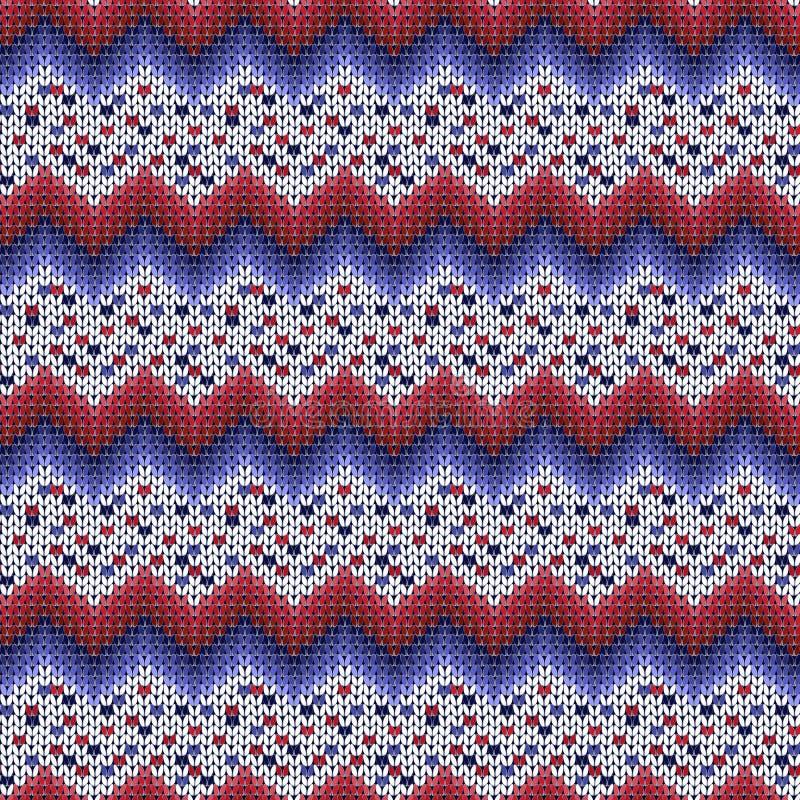 Naadloos gebreid Kerstmis gestreept patroon blauwe, rode, witte zigzagstrepen stock illustratie