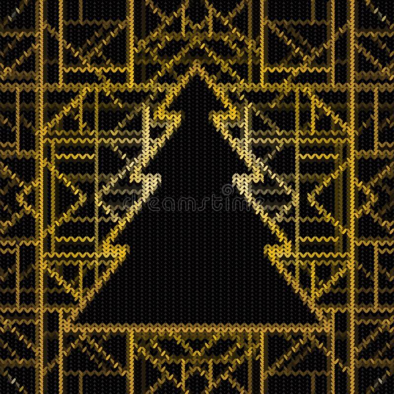 Naadloos gebreid Kerstmispatroon, vectorillustratie Kunstdec vector illustratie