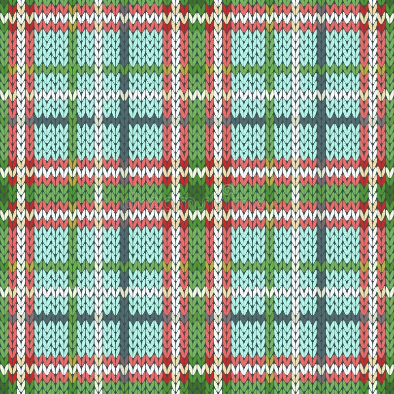 Naadloos gebreid patroon in groene, rode en witte tinten stock illustratie