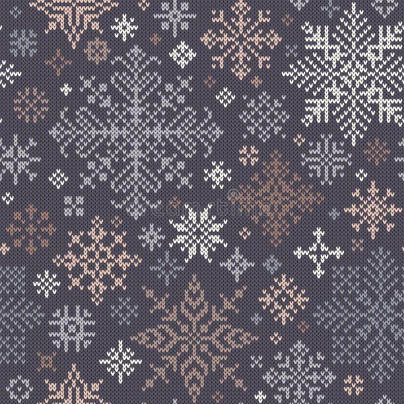 Naadloos gebreid patroon met grijze, beige en witte sneeuwvlokken vector illustratie