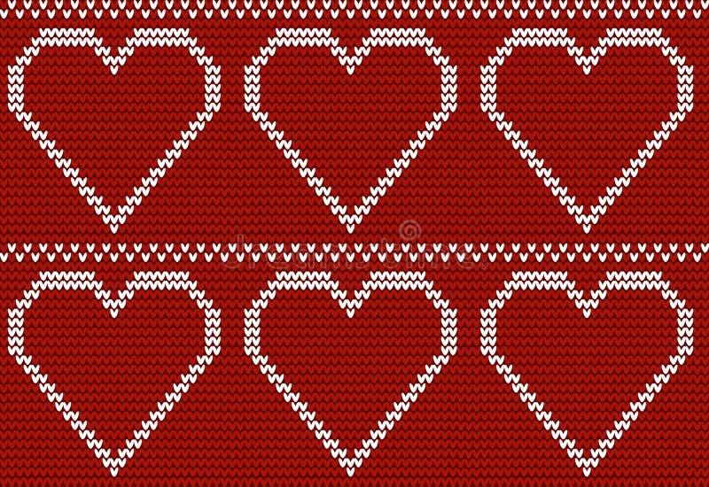 Naadloos gebreid patroon met grote harten vector illustratie