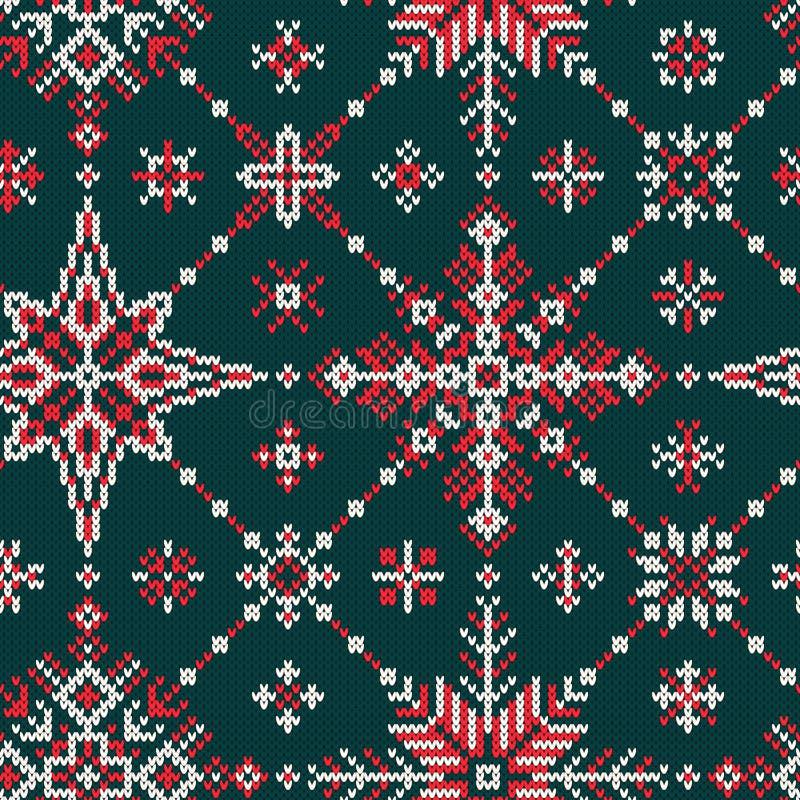 Naadloos gebreid patroon met rode en witte sneeuwvlokken op een gree stock illustratie