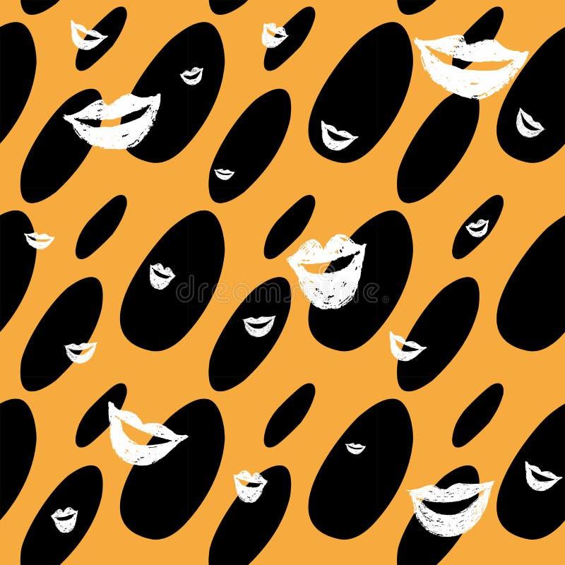 Naadloos geel en zwart dalingspatroon met lippen stock illustratie