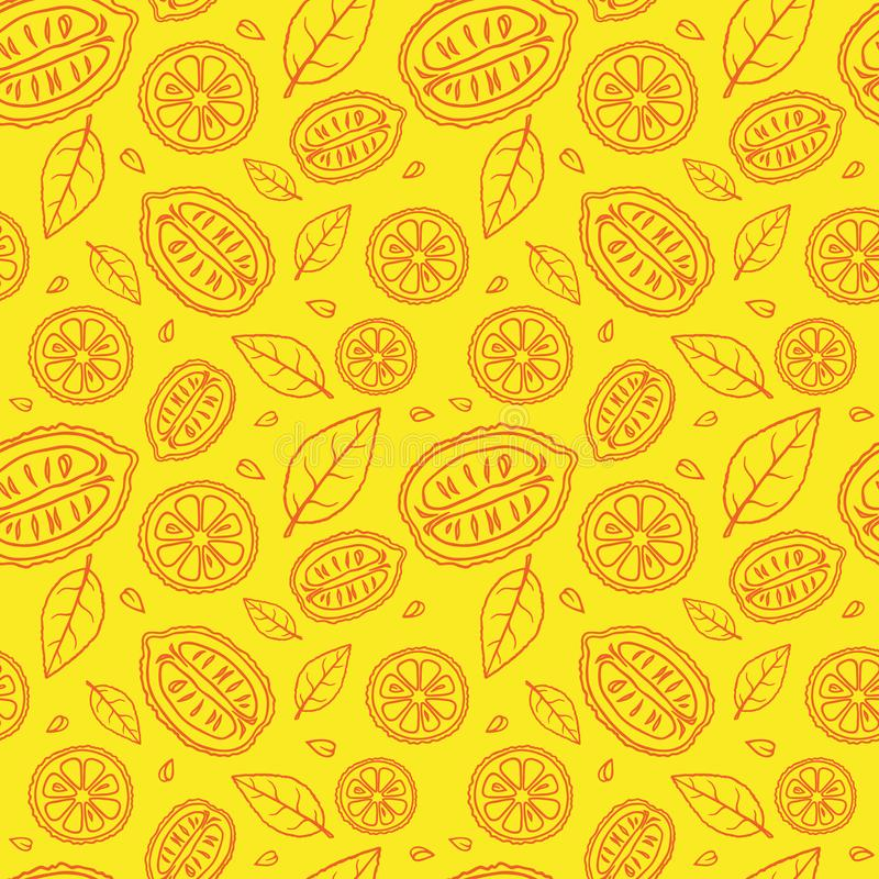 Naadloos geel patroon met krabbels van gesneden rode citroenen en bladeren stock foto's