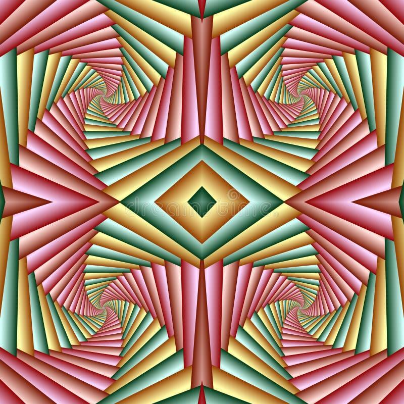 Naadloos geel wervelings abstract feestelijk patroon, groen, roze Betegeld patroon Geometrisch moza?ek Groot voor tapijtwerk, tap stock illustratie