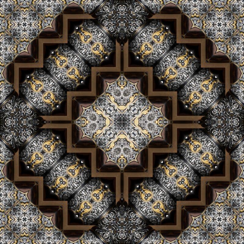 Naadloos gegraveerd metaalbewerkingspatroon 014 royalty-vrije stock afbeelding