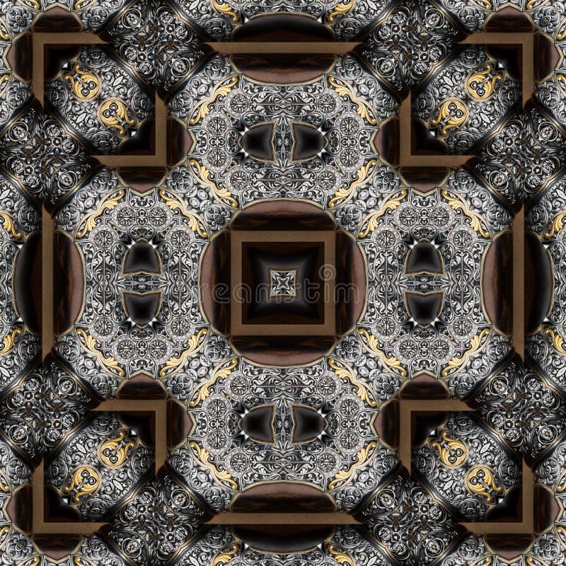 Naadloos gegraveerd metaalbewerkingspatroon 012 royalty-vrije stock afbeeldingen