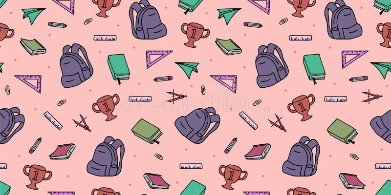 Naadloos gekleurd terug naar schoolpatroon met de krabbeltekening van leverings stationaire en creatieve elementen Kleurrijke pre royalty-vrije illustratie