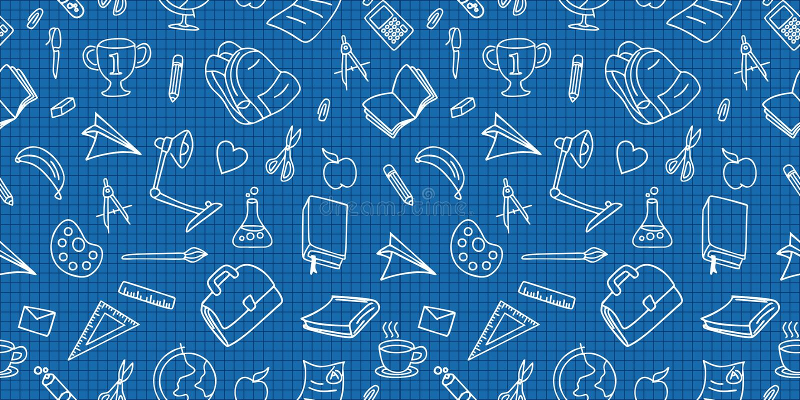 Naadloos gekleurd terug naar schoolpatroon met de krabbeltekening van leverings stationaire en creatieve elementen In leuke vecto royalty-vrije illustratie